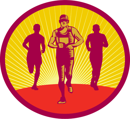 a fellow: Illustration of a marathon runner with fellow runners in the back viewed from front set inside circle with sunburst in the background done in retro woodcut style.
