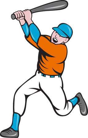 homer: Illustration of an american baseball player holding bat batting homer home run set  on isolated white background done in cartoon style.