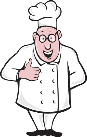 chef cartoon: Illustration of a chef cook smiling standing wearing chefs hat and eyeglasses doing a thumbs up viewed from front set on isolated white background done in cartoon style.