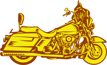 Illustration of a motorcycle motorbike viewed from the side set on isolated white background done in retro woodcut style. Illustration