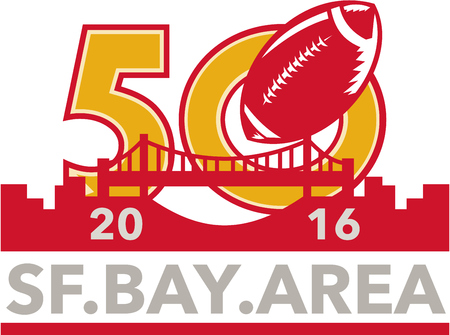 sf: Illustration showing number 50 with American football ball and San Francisco golden gate bridge with words SF Bay Area 2016 for the pro football championship.