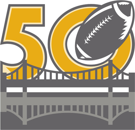 sf: Illustration showing number 50 with American football ball flying over San Francisco Bay area Golden Gate bridge for the pro football championship.
