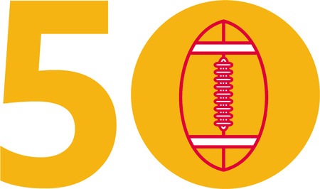 number 50: Illustration showing number 50 with American football  ball inside for the pro football championship set on isolated white background.