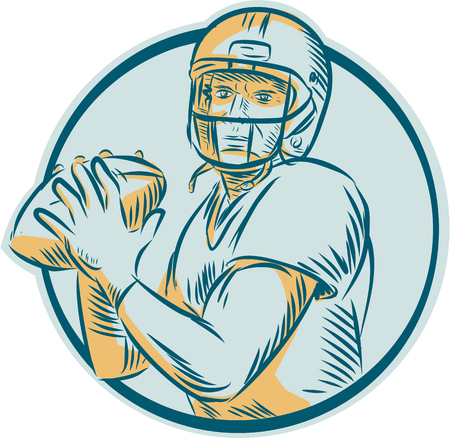 quarterback: Etching engraving handmade style illustration of an american football gridiron quarterback qb throwing ball viewed from front set inside circle on isolated background.