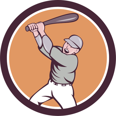homer: Illustration of an american baseball player holding bat batting homer home run set inside circle on isolated background done in cartoon style.