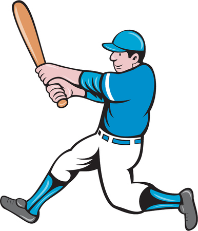 hitter: Illustration of an american baseball player batter holding bat batting swinging bat viewed from the side set on isolated white background done in cartoon style.