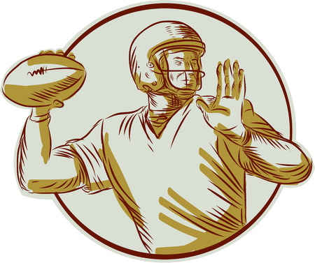 quarterback: Etching engraving handmade style illustration of an american football gridiron quarterback qb throwing ball viewed from the side set inside circle on isolated background.