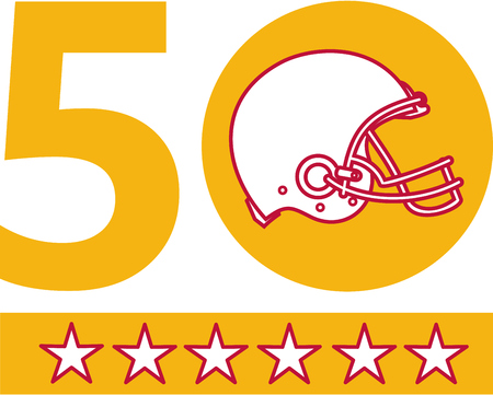 sf: Illustration showing number 50 with American football helmet side view with five stars for the SF Bay Area or San Francisco Bay area pro football championship set on isolated white background. Illustration