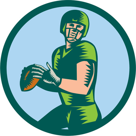 quarterback: Illustration of an american football gridiron quarterback player throwing ball viewed from front set inside circle on isolated background done in retro woodcut style. Illustration