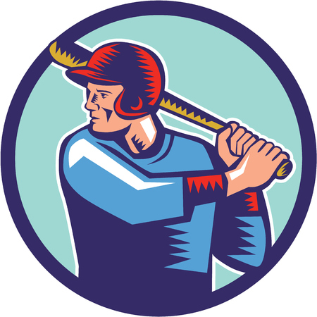 people looking up: Illustration of an american baseball player batter hitter holding bat batting viewed from the side set inside circle on isolated background done in retro woodcut style.