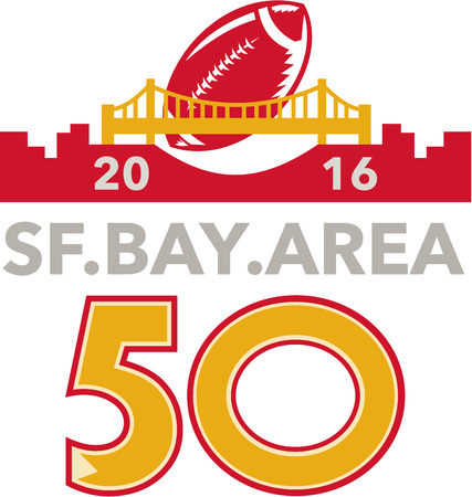 sf: Illustration showing number 50 with American football ball flying over San Francisco golden gate bridge with words  SF Bay area 2016 for the pro football championship. Illustration