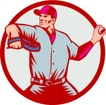 outfielder: Illustration of an american baseball player pitcher outfilelder throwing ball looking to the side set inside circle on isolated background done in retro woodcut style.