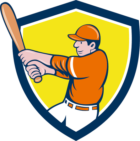 batting: Illustration of an american baseball player batter holding bat batting swinging bat viewed from the side set inside shield crest on isolated background done in cartoon style.