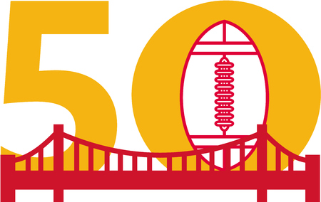 gridiron: Illustration showing number 50 with American football and golden gate bridge with for the pro football championship set on isolated white background.