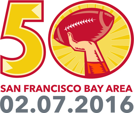 sf: Illustration showing number 50 with quarterback hand throwing American football ball with words San Francisco Bay area 2016 for the pro football championship.