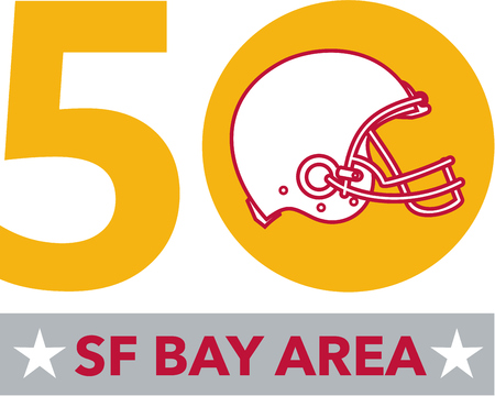 sf: Illustration showing number 50 with American football helmet with words SF Bay Area or San Francisco Bay area for the pro football championship.