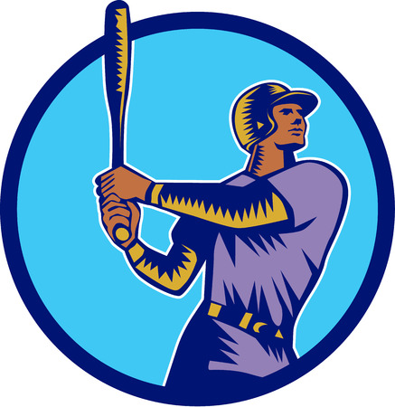 hitter: Illustration of an american baseball player batter hitter holding bat batting looking up to the side set inside circle on isolated background done in retro woodcut style.