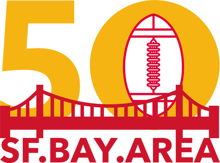 san francisco bay: Illustration showing number 50 with American football and golden gate bridge with words San Francisco Bay area for the pro football championship.