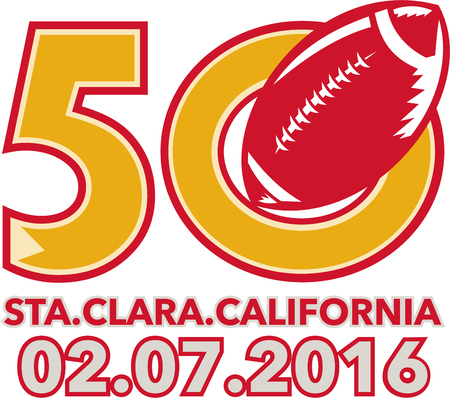 superbowl: Illustration showing number 50 with American football ball with words Santa Clara, California 2016 for the pro football championship.