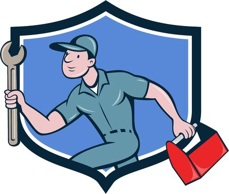 mechanic cartoon: Illustration of a mechanic carrying spanner wrench and toolbox running viewed from the side set inside shield crest on isolated background done in cartoon style.