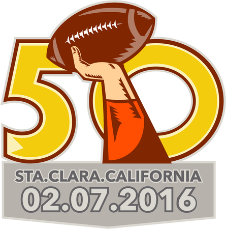 sf: Illustration showing number 50 with quarterback hand throwing American football ball with words Santa Clara, California 2016 for the pro football championship.