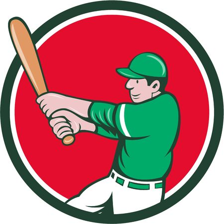 batting: Illustration of an american baseball player batter holding bat batting swinging bat viewed from the side set inside circle on isolated background done in cartoon style. Illustration