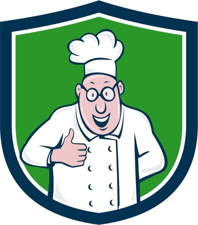 chef cartoon: Illustration of a chef cook smiling wearing chefs hat and eyeglasses doing a thumbs up viewed from front set inside shield crest on isolated background done in cartoon style.