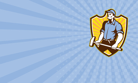 sledgehammer: Business card showing illustration of a union worker with sledgehammer hammer done in retro style set inside shield crest with sunburst on isolated white background. Stock Photo