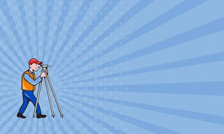 teodolito: Tarjeta de visita que muestra la ilustraci�n de un ingeniero geod�sico top�grafo mirando a trav�s de instrumentos teodolito agrimensura visto desde el lado situado en el fondo blanco aislado hecho en estilo de dibujos animados.