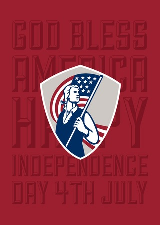 bless: Independence Day or 4th of July greeting card featuring an illustration of an American Patriot holding a USA stars and stripes flag set inside crest shield on isolated background done in retro style with the words God Bless America, Happy Independence Day