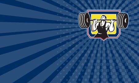 weightlifter: Business card showing illustration of a weightlifter lifting weights heavy barbell viewed from front set inside crest shield done in retro style.