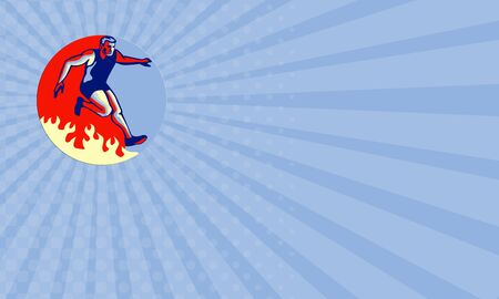obstacle course: Business card showing illustration of an athlete in obstacle course racing jumping over fire set inside circle done in retro style. Stock Photo
