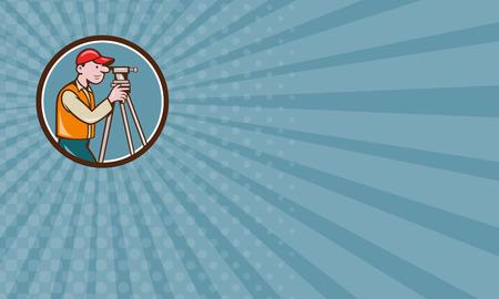 teodolito: Tarjeta de visita que muestra la ilustraci�n de un ingeniero geod�sico top�grafo mirando a trav�s de instrumentos teodolito agrimensura visto desde el lado fij� el c�rculo interior hecho en estilo de dibujos animados. Foto de archivo
