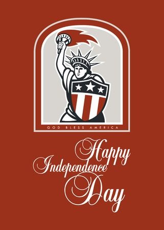 bless: Independence Day or 4th of July greeting card featuring an illustration of statue of liberty holding up a flaming torch and shield on isolated background done in retro style with the words God Bless America and Happy Independence Day.