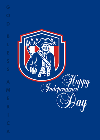 Independence Day or 4th of July greeting card featuring an illustration of an American Patriot holding a bayonet rifle facing front set inside crest shield with stars and stripes in the background done in retro style and the words Happy Independence Day a