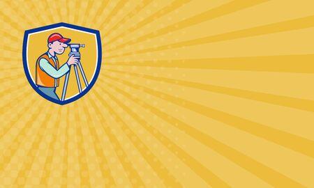 teodolito: Tarjeta de negocios que muestra la ilustración de un ingeniero geodésico topógrafo mirando a través de instrumentos teodolito agrimensura visto desde el lado fijó dentro cresta escudo hecho en estilo de dibujos animados. Foto de archivo