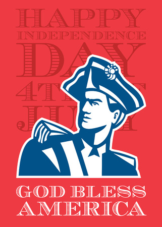 bless: Independence Day or 4th of July greeting card featuring an illustration of an American Patriot revolutionary soldier bust set on isolated background done in retro style with the words God Bless America.