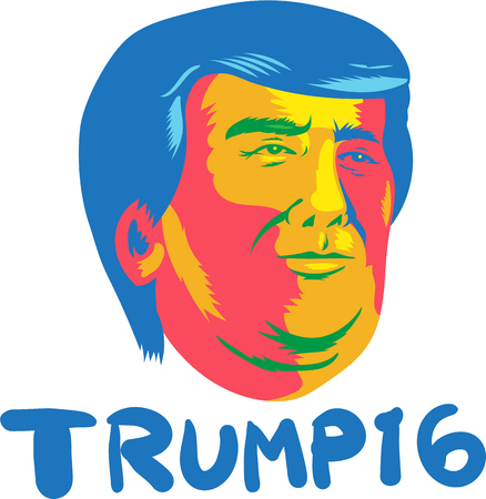 donald: Illustration showing head of American real estate magnate, television personality, politician and Republican 2016 presidential candidate Donald John Trump with words Trump 16 done in retro style.