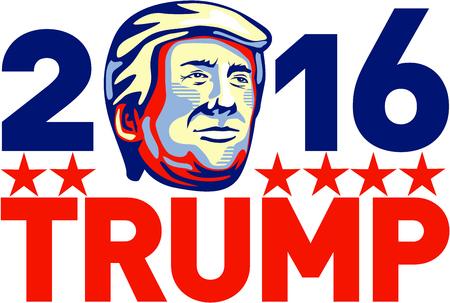 Illustration zeigt amerikanischen Immobilien-Magnat, TV-Persönlichkeit, Politiker und Republikaner 2016 Präsidentschaftskandidat Donald John Trump mit Worten 2016 Trump im Retro-Stil.
