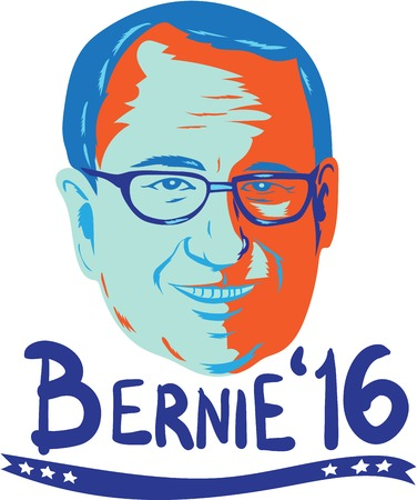 senator: Illustration showing head of Bernard Bernie Sanders, American Senator, elected politician and Democrat presidential candidate words Bernie 2016 done in retro style.