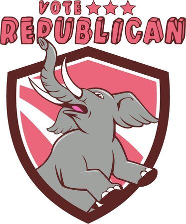 republican party: Illustration of a republican elephant mascot of the republican party prancing looking up to the side set inside shield crest with red stripes in the background done in cartoon style with words Vote Republican.
