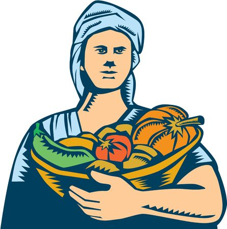 linocut: Illustration of a female lady organic farmer carrying basket full of vegetables fruits harvest produce wearing turban bandana viewed from front set on isolated white background done in retro woodcut style.