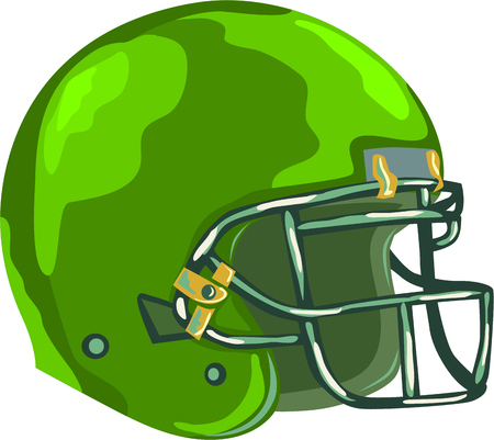 headgear: WPA style illustration of an american football green helmet headgear viewed from side set on isolated white background done in retro style.