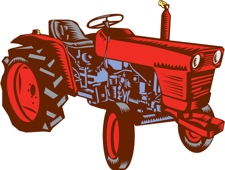 farm tractor: Illustration of a vintage farm tractor set on isolated white background viewed from the side done in retro woodcut style. Illustration