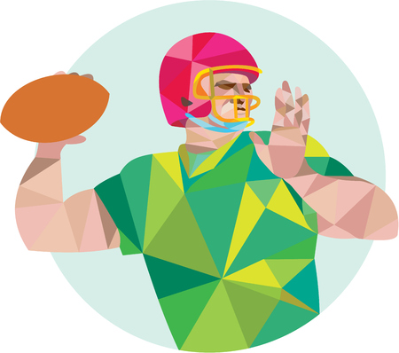 quarterback: Low polygon style illustration of an american football gridiron quarterback qb player throwing ball viewed from the side set on isolated white background. Illustration
