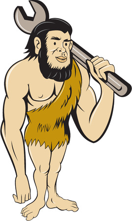 만화 스타일에서 수행하는 격리 된 흰색 배경에 설정 어깨에 스 패너를 들고 서있는 원시인 또는 원시인의 그림. 일러스트