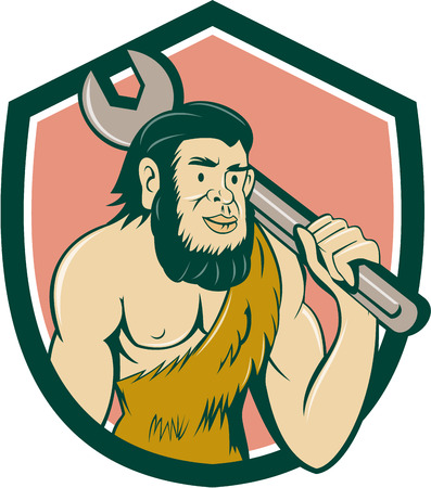 neanderthal  man: Illustration of a neanderthal man or caveman carrying spanner on shoulder set inside crest on isolated background done in cartoon style.