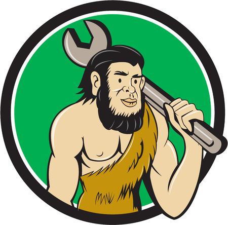 만화 스타일에서 수행하는 격리 된 배경에 동그라미 안에 설정 어깨에 스 패너를 들고 neanderthal 남자 또는 원시인의 그림.