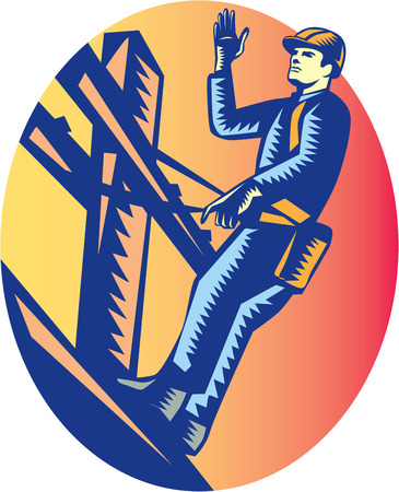 Illustration of a power lineman telephone repairman worker standing on electric pole with harness waving hand viewed from low angle done in retro woodcut style.