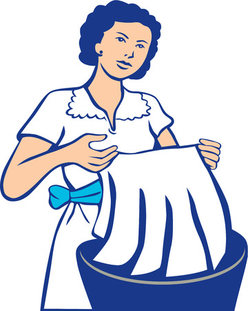 woman clothes: Illustration of a housewife washing laundry in basin viewed from the front set on isolated white background done in retro style. Illustration